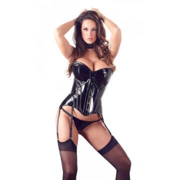 Lacquer corset, waist height cushion (black)