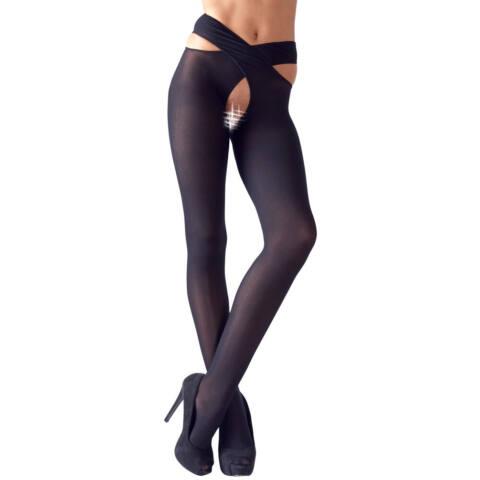 Cottelli - Pančuchové nohavice s prekríženými pásmi (čierne)
