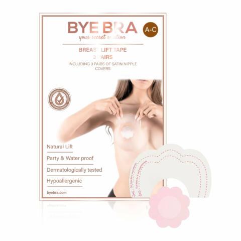 Bye Bra - Breast Lift & Silk Nipple Covers A-C Nude 4 Pairs