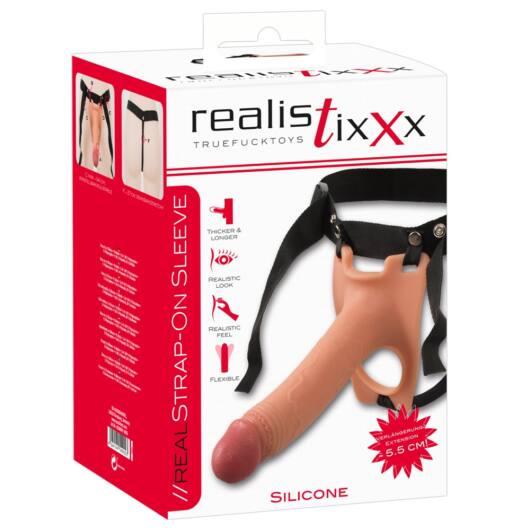 Realistixxx Strap-on – pripínacie, duté realistické dildo (telová farba)