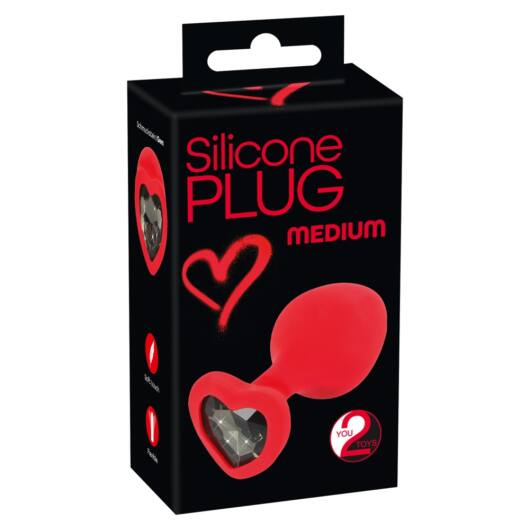 You2Toys Plug Medium - black stone, please anal dildo (red) - medium