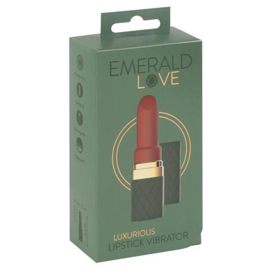 Emerald Love - cordless, waterproof lipstick vibrator (green-burgundy)