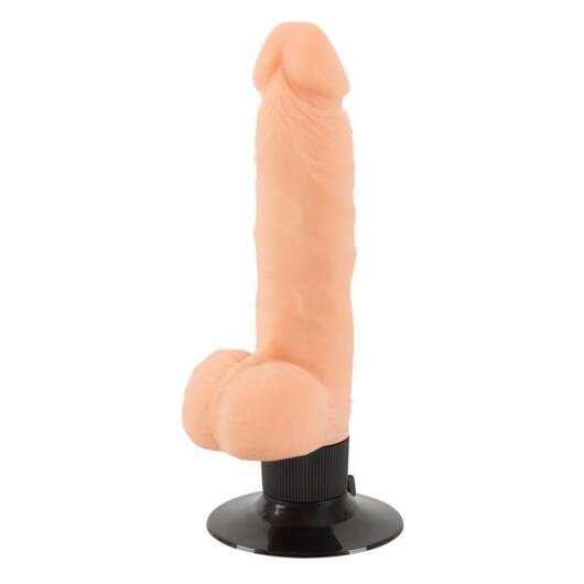 Nature Skin M – realistický vibrátor so semenníkmi a prísavkou (telová farba)