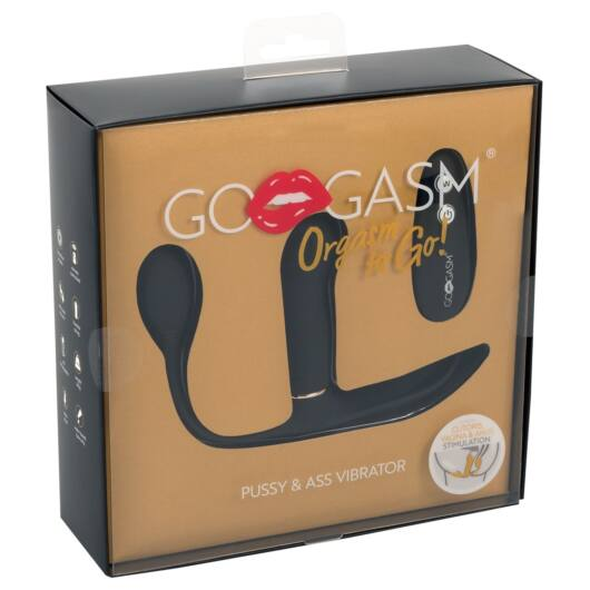 GoGasm Pussy & Ass - cordless, radio 3-arm vibrator (black)