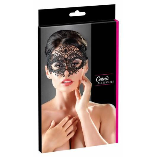Cottelli - vyšívaná, čipkovaná maska na tvár (čierna)