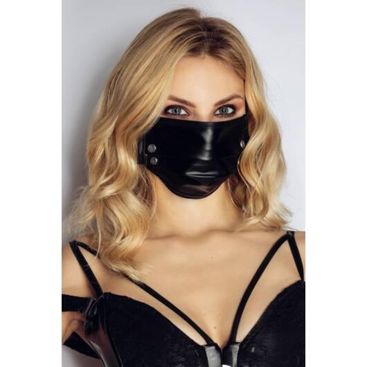 Noir – lesklé rúško s nitmi (čierne)