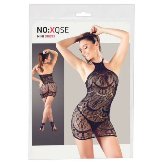 NO:XQSE – abstraktne vzorkované pančuchové šaty s tangami (čierne)