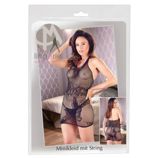Mandy Mystery – pančuchové šaty s ramienkami okolo krku a tangami (čierne)
