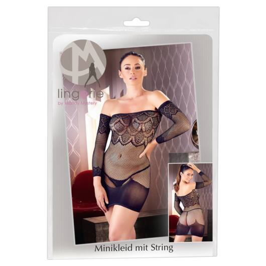Mandy Mystery - Fishnet Bib Dress with Cardigan and Thong (Black)