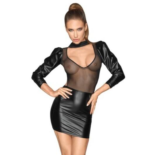 Noir - Sleeveless Mesh Shiny Mini Dress (Black)