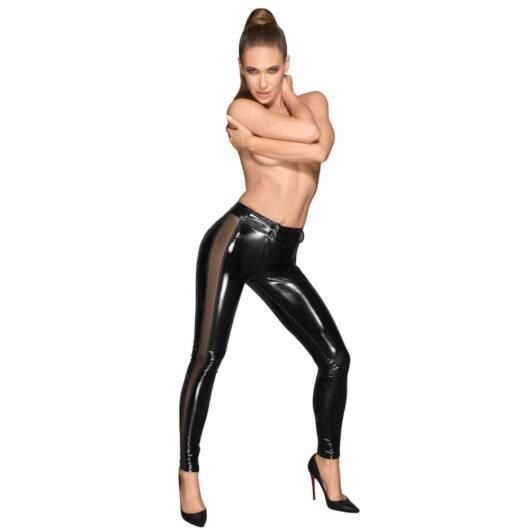 Noir - Transparent liner, shiny legging (black)