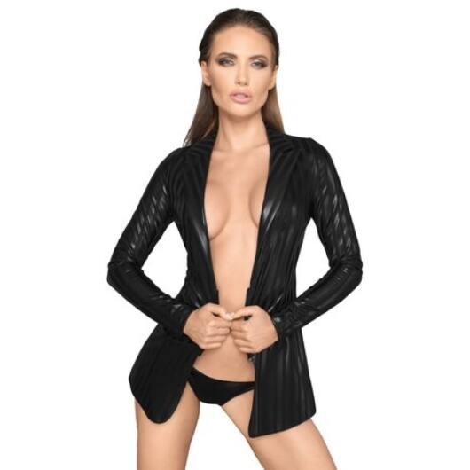Noir - shiny-striped blazer (black)