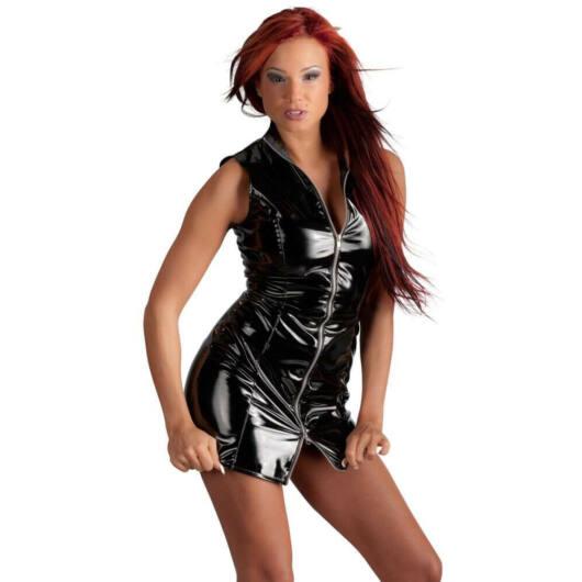 Black Level - zippered lacquer jacket dress (black)