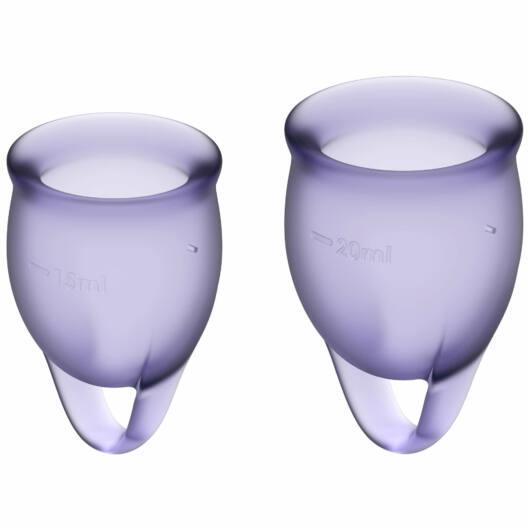 SatisfyerFeel Confident – súprava menštruačných kalíškov (fialová) – 2ks