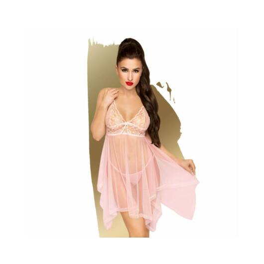 Penthouse Naughty Doll - čipkované šaty s tangami (ružové)