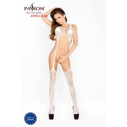 Passion BS016 – minimalistický pančuchový overal s vlnitým zdobením (biely) – S-L