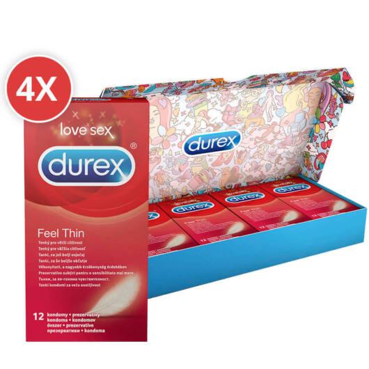 Durex Feel Thin – balík kondómov pre realistický pocit (4 x 12ks)