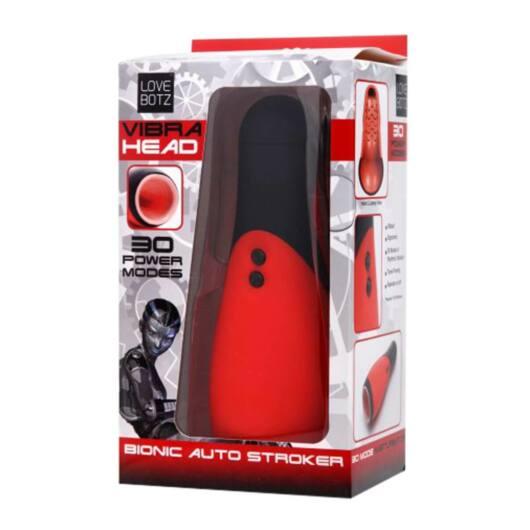 Bionic Auto Stroker – vibračný masturbátor hlboké hrdlo (červený-čierny)