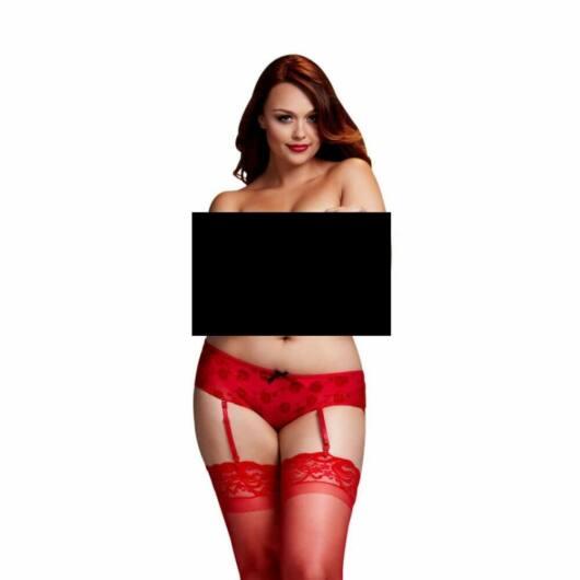 Baci Plus Size – otvorené spodky s ružou a podväzkami (červené)