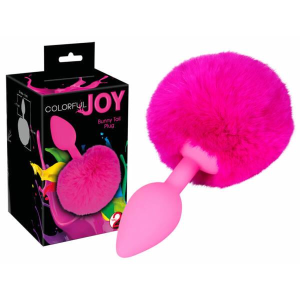 You2Toys Colorful Joy Bunny Tail Plug - análne dildo zo zajačim chvostom (pink)