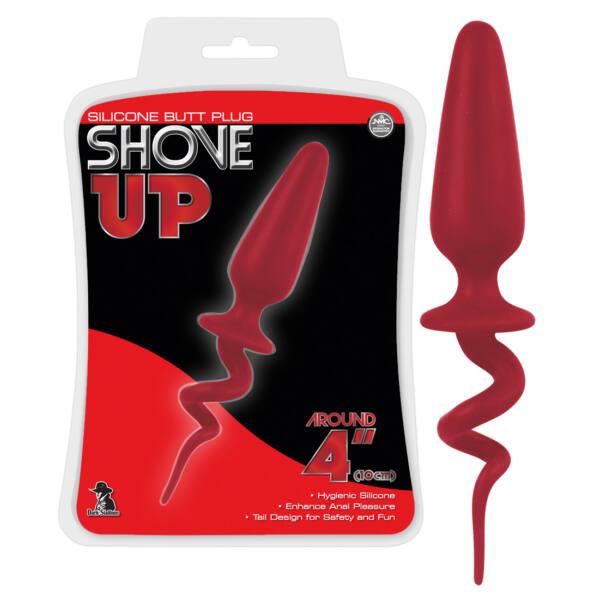 NMC Shove UP Butt Plug 4 - análne dildo s chvostom 9,5cm (červené)