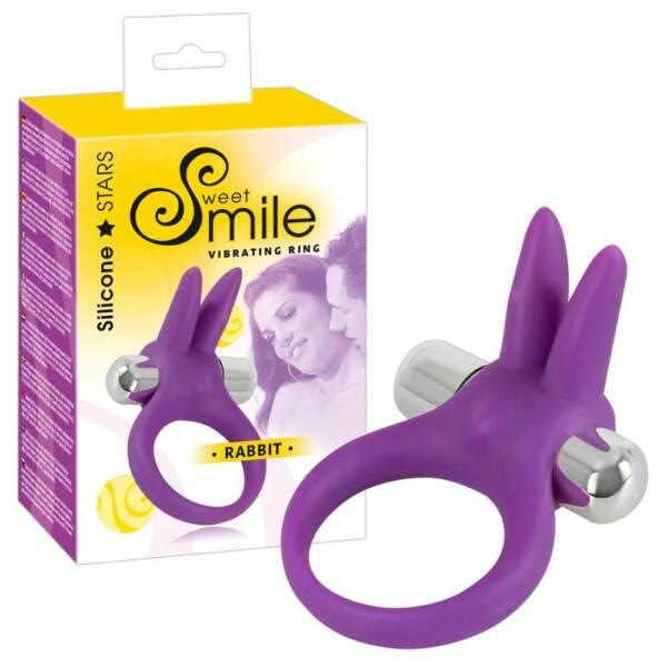 SMILE Rabbit - vibračný krúžok na penis (fialový)