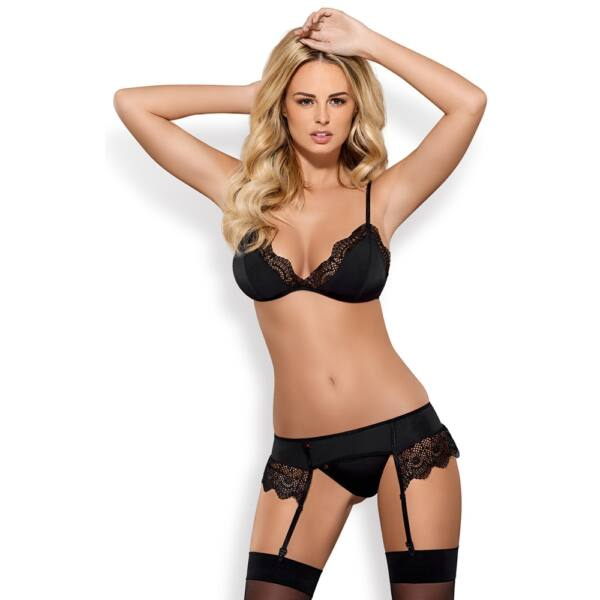 Obsessive Moketta - Lace Curly Lingerie Set (Black)