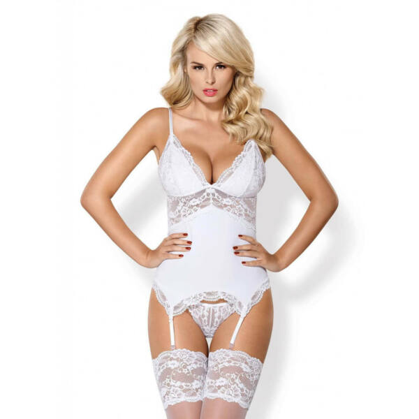 Obsessive 810-COR-2 - Lace-up, Garter Top and Thong (White)