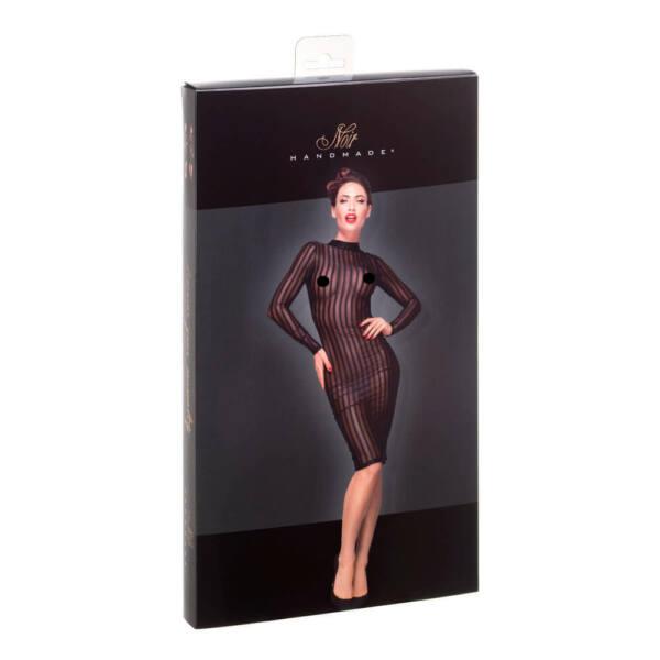 Noir - Long-sleeved, transparent striped dress (black)