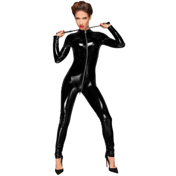 Noir - Front Zipper Glossy Long Sleeve Overall (Black)