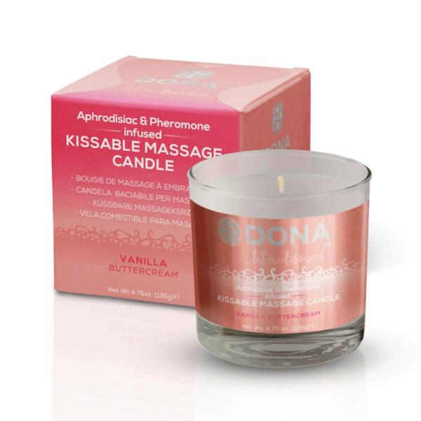 DONA Kissable Massage Candle Vanilla Buttercream - masážna sviečka vanilka (135g)